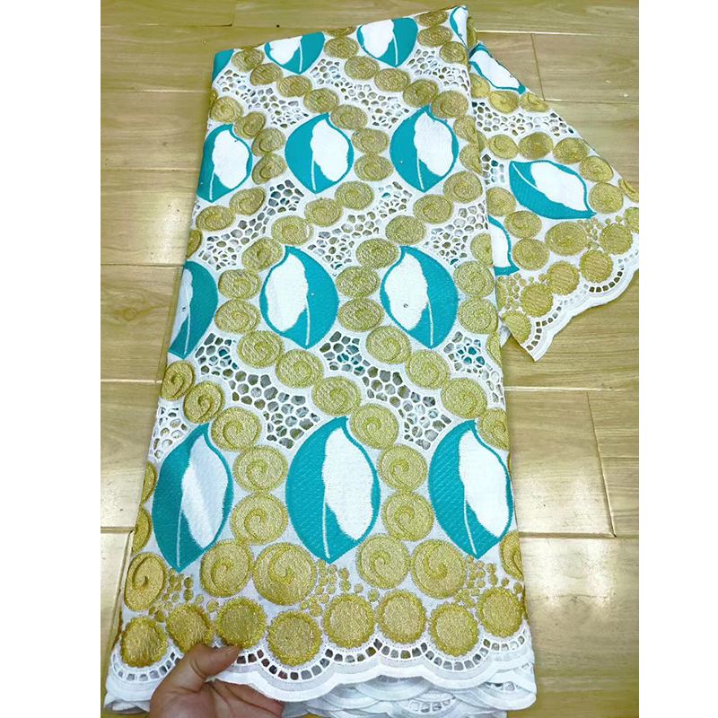 ŽCloseout DealsParty-Dress 5-Yards100%Cotton Embroidery-Material Leaves Dubai-Style Circular-Pattern