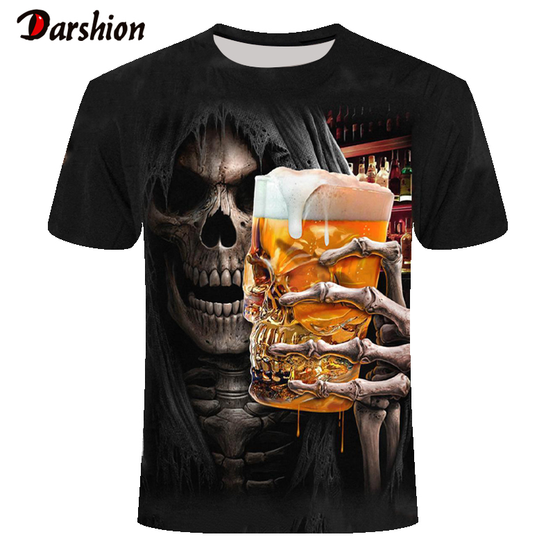 Street Tops Grim Reaper Tshirt Short Sleeve Summer Hipster With Skull 3D T-shirts For Male T-shirts Anime Men's Short Sleeve