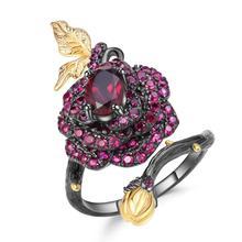 GEMS BALLET 925 Sterling Silver 1.00Ct Natural Rhodolite Garnet Rose Flower Open Ring Handmade Adjustable Ring for Women Bijoux