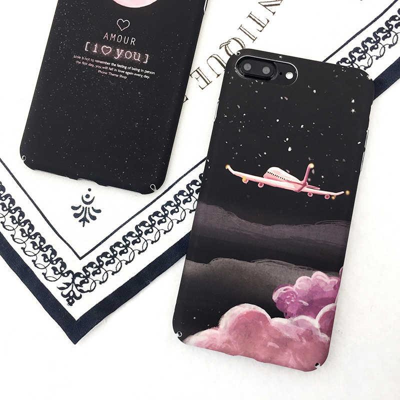 Чехол для телефона SUYACS с мультяшными самолетами и звездами для Iphone 5, 5s, 6, 6 S, 7, 8 Plus, XS, жесткий матовый чехол на заднюю панель для телефона, Луна и Вселенная