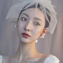 French white bow veil bride styling tiara headdress banquet photography and makeup jewelry