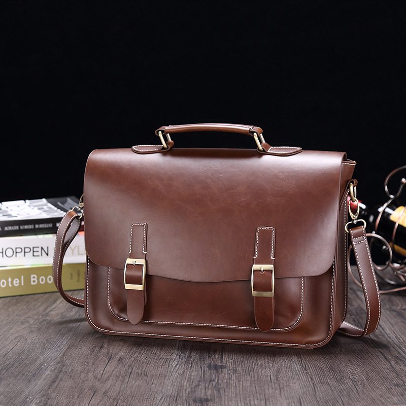 Business Man Bag PU Leather Briefcase For Man Solid Bank Mens Briefcase Bag Dress Man Leather Handbag