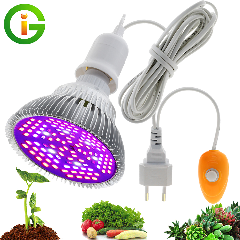 LED Grow Light Full Spectrum 30W 50W 80W Blue IR UV Phytolamp Bulb 4M Switch Wire With EU Plug For Indoor Plant Seedling Grow
