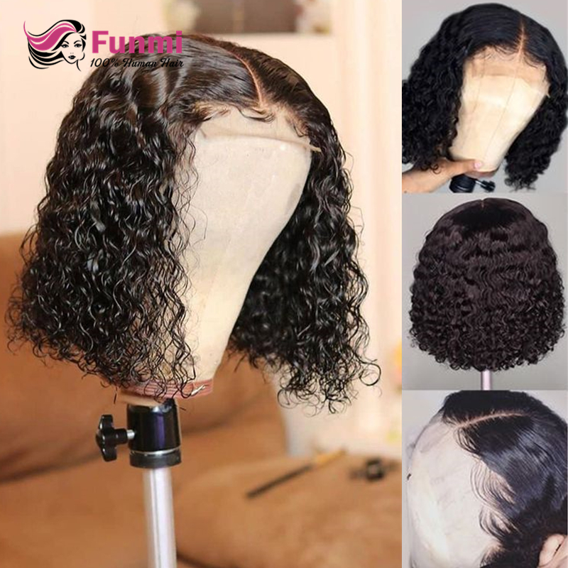 Short Deep Wave Bob Wig Malaysian Lace Front Human Hair Wigs With Baby Hair For Black Women Pre-Plucked Remy Human Hair Wigs