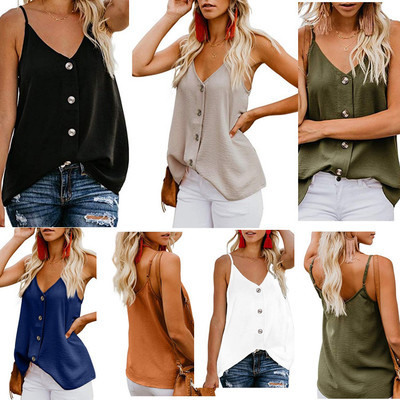 Women Casual V-neck Tami Vest Top Sleeveless Shirt Womens Tops And Blouses Fashion Button Up Pullover Top Plus Size Tunic Blouse