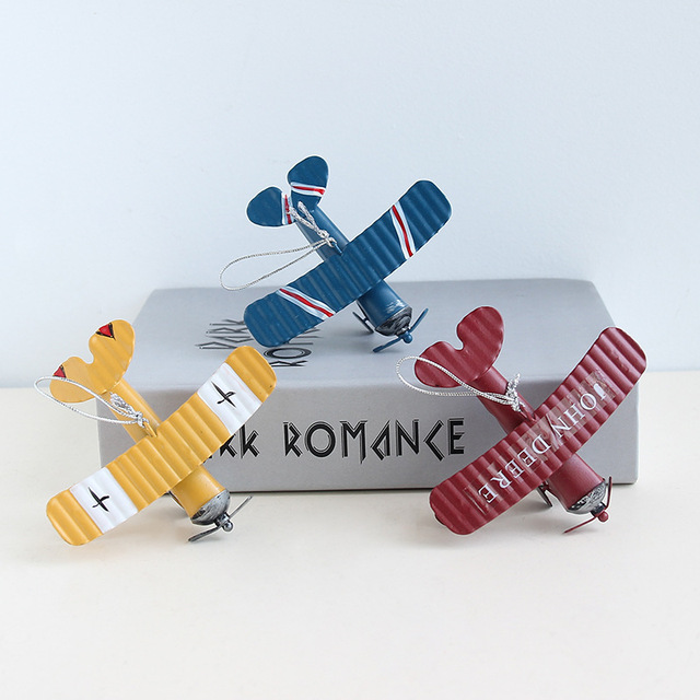 VILEAD Iron Retro Airplane Figurines  Metal Plane Model Vintage Glider Biplane Miniatures Home Decor Aircraft for Kids Gift 3