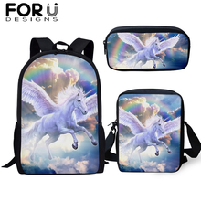 FORUDESIGNS 3Pcs/set School Cartoon Unicorn Bag Student Fantasy Backpack For Boys Girls Children Bookbags Black Rucksack Gifts