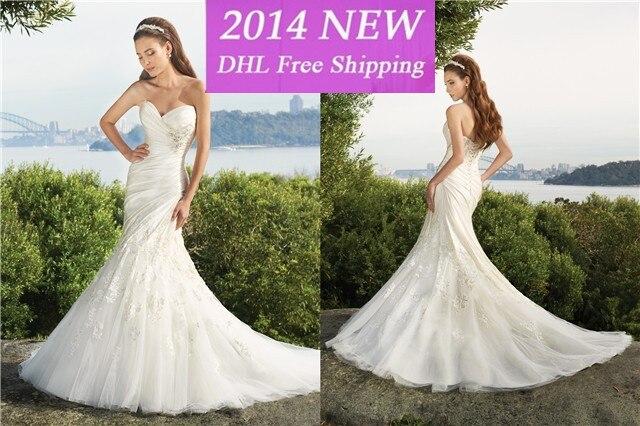 Frete Grtis 2019 Elegante Querida Sereia Cetim Apliques De Renda White/marfim Vestidos De Casamento Nupcial Vestido Personalizad