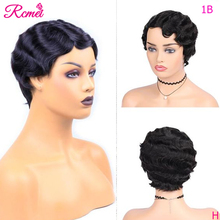 Short Lace Front Human Hair Wigs Brazilian Finger Wave Wig O