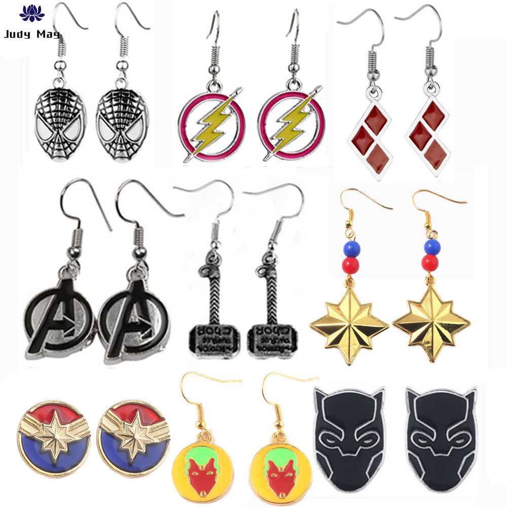 Hot Movie Jewelry Earring Justice League Superman The Avengers Spiderman Wonder Woman Super Hero Iron Man Earring for Fans Gift