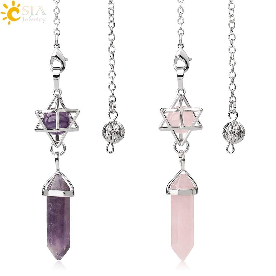 Péndulo de piedra Natural CSJA para Dow Divination, Prisma Hexagonal curativo de cristal, energía Merkaba, joyería espiritual a la moda G517