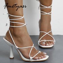 2021 Summer Woman Pumps biały czarny moda wiązane na krzyż wysokie obcasy buty Sexy Lace Up pompka imprezowa rozmiar 35-42 tanie tanio Fmetyasi GLADIATORKI Szpilki CN (pochodzenie) ZAOKRĄGLONY PRZÓD Wysoka (5 cm-8 cm) Dobrze pasuje do rozmiaru wybierz swój normalny rozmiar