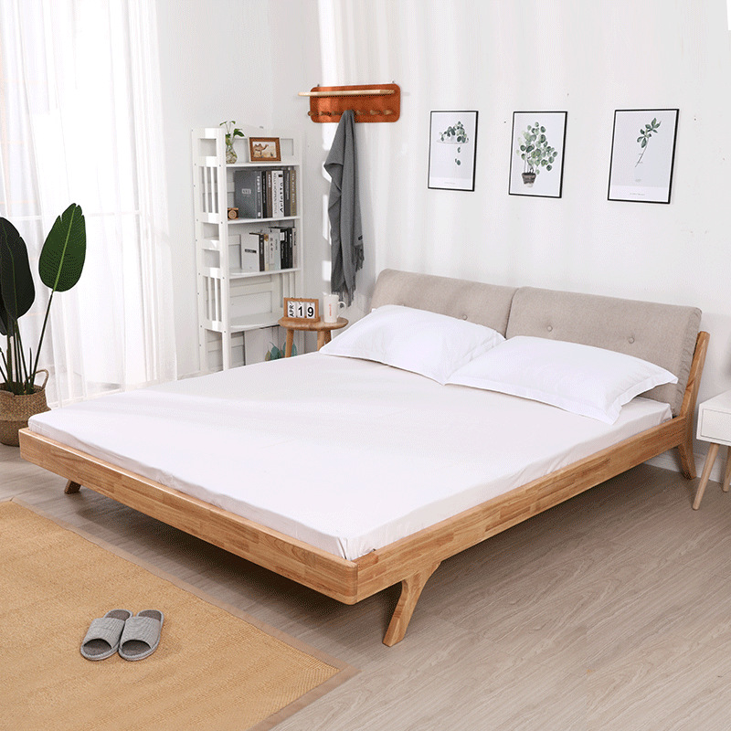 Manufacturers Direct Selling Solid Wood Double Bed 1.8 M Wood Color Economical Adult's Bed Modern Rubber Wood Northern European-
