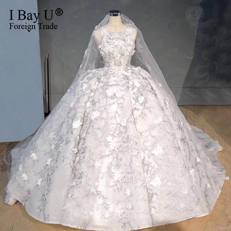 Роскошное Свадебное платье с объемным цветком, кристаллами и жемчугом, светло-серое, Дубай, 2020, свадебное платье принцессы с тяжелыми бусинами, robe de mariée de luxe