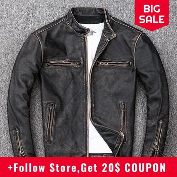 цена на 2020 Retro Vintage Black Men Biker's Leather Jacket Plus Size XXXXL Genuine Cowhide Autumn Slim Fit Motorcycle Leather Coat