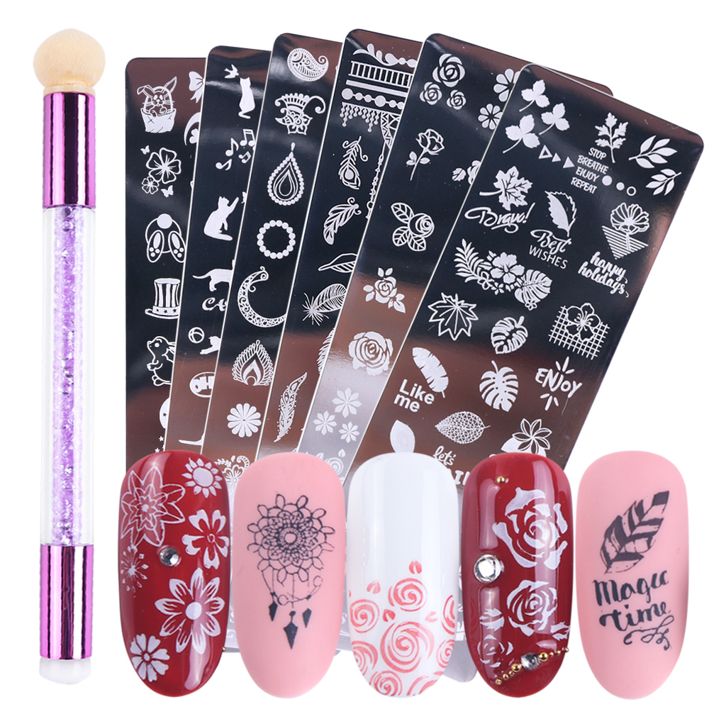 3D Nail Art Stamping Plates Sponge Pen Nail Brushes Set Flowers Geometry Animals DIY Images Manicure Stencil Tools LASTZN01-12-2