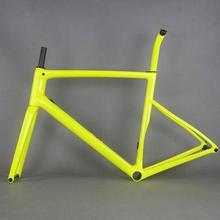 2020 Fluorescent yellow Flat Mount disc carbon road frame  Bicycle Frameset  T1000  New EPS technology disc carbon  frame TT X19