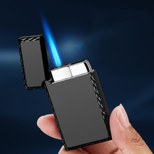 Gas Lighter Turbo Torch Lighter Ultra Thin Free Fire Jet Gas Cigar Metal Lighters 1300 C Windproof Pipe Gadget for Men