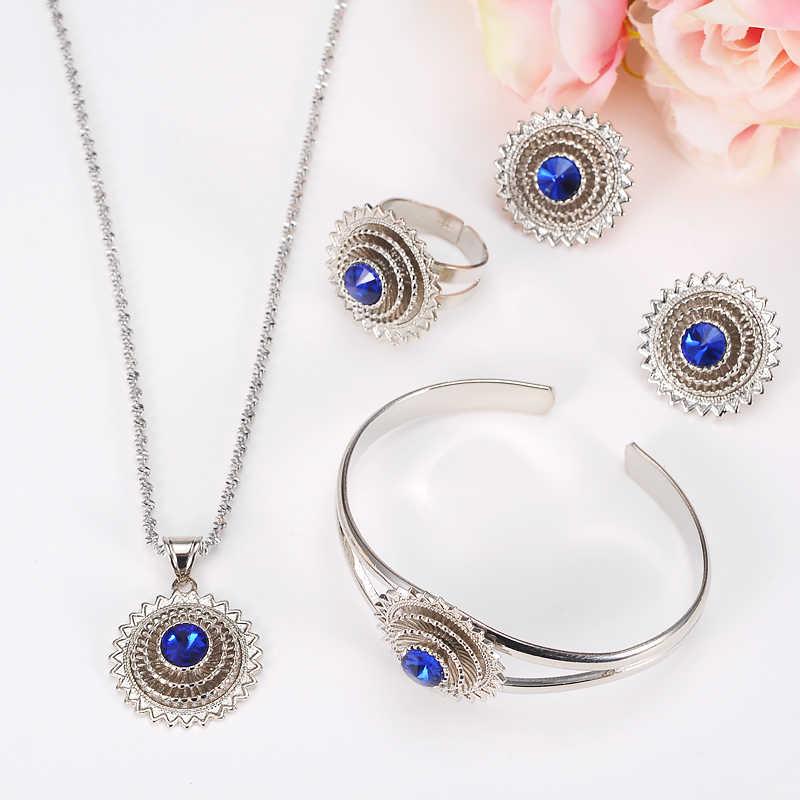 الفضة أفريقيا إسرائيل مجوهرات جديد Ethiopian قلادة القلائد أقراط الإسورة خاتم Habesha مجوهرات إريتريا هدايا الزفاف الزفاف