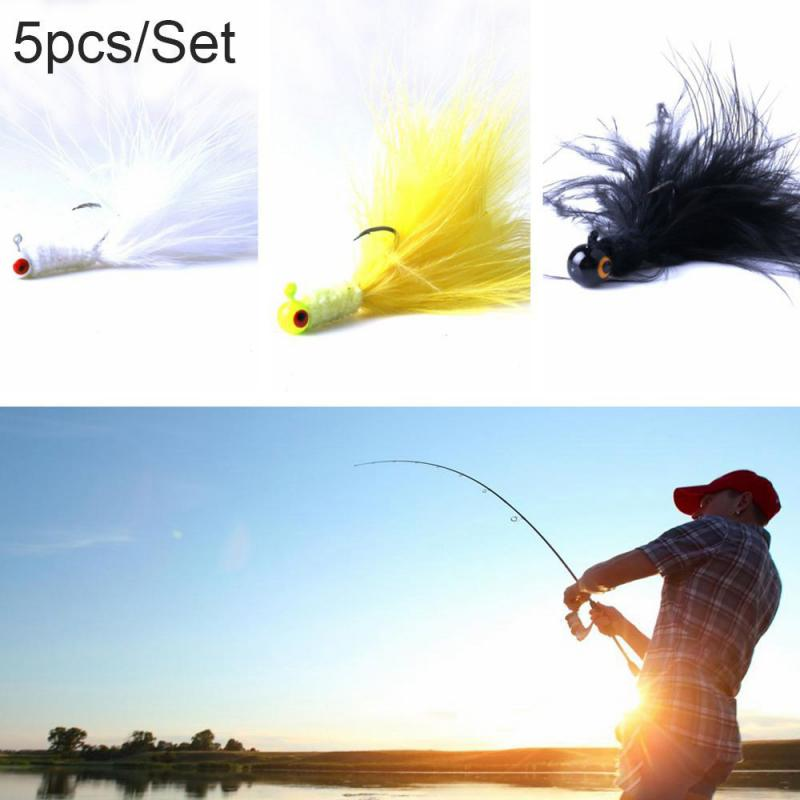 Hook-Tools Minnow Lead-Head Streamer Tail Fishing-Bait Silver 5pcs Anti-Corrosion title=