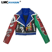 LMCAVASUN Women Rivets Faux Leather Coat Punk Style Cool Rock Short pu leather Jackets Streetwear Top Quality coats and jackets