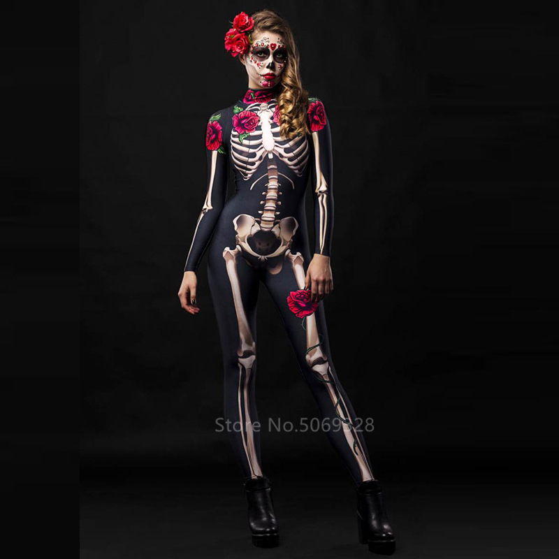 H1f063397914d4523aa2911ed063360d04 - Skeleton Rose Sexy Women Halloween Devil Ghost Jumpsuit Party Carnival Performance Scary Costume Kids Baby Girl Day Of The Dead