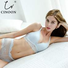 CINOON Sexy women 3/4 Cup lingerie Lace underwear Cotton bra set Push