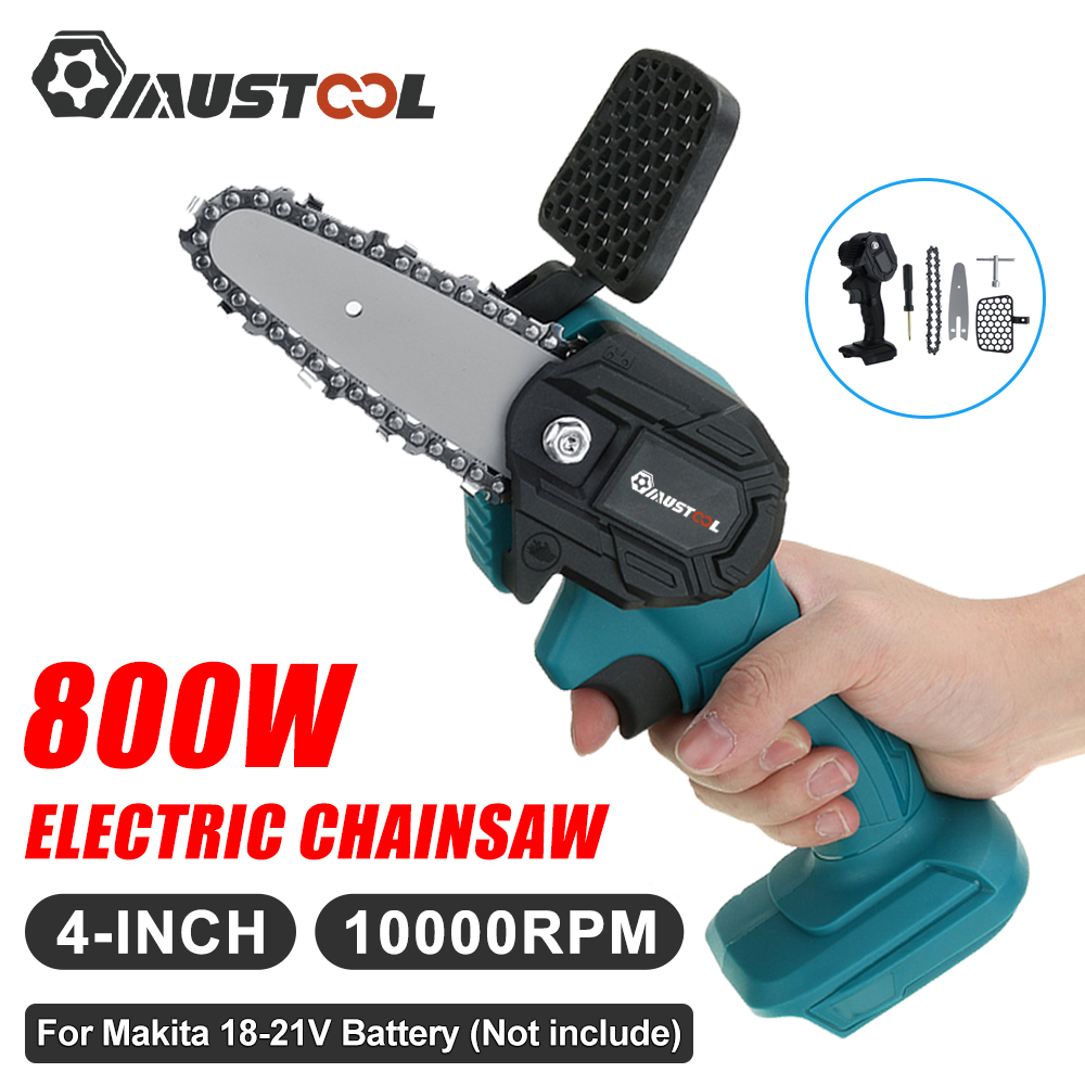 MUSTOOL 800W Mini Electric Saw Electric Chain Saw Pruning One-handed Garden Tool for Makita 18V Battery Woodworking Power Tools