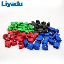 500 יח\חבילה KF301 2P שחבור, בורג סוג PCB מרווח 5.0 מחבר מסופים, מסוף כחול/ירוק KF301 אדום, כחול, ירוק, שחור