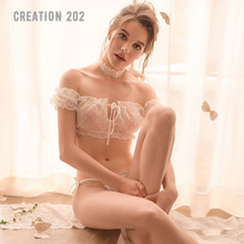 Creation 202 Women's Sexy Suit Wave Point Chiffon One Line Collar Sexy Pajamas Suit Summer Comfortable Home Wear