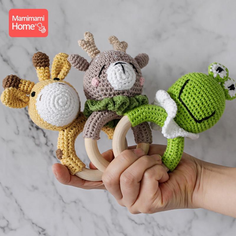 1 pc bebê mordedor de madeira crochê girafa chocalho brinquedo bpa livre madeira roedor chocalho ginásio do bebê móvel carrinho de bebê recém-nascido brinquedos educativos
