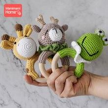1pc bebê mordedor de madeira crochê girafa chocalho brinquedo bpa livre madeira roedor chocalho ginásio do bebê móvel logotipo personalizado brinquedos educativos