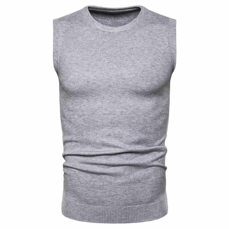 Padegao 2020 봄 남성용 조끼 스웨터 민소매 따뜻한 스웨터 오목 캐주얼 슬림 피트 탑 솔리드 컬러 언더 셔츠 니트 조끼