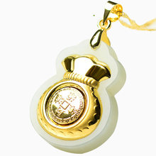 Money Bag Hetian Jade Pendant Good luck And Money come Jade Necklace Lovers Lucky Amulet 24K Gold Jewelry Chinese Fine Jewelry(China)