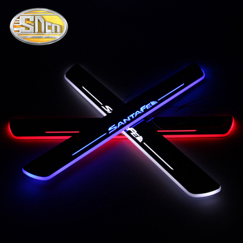 SNCN Car LED Door Sill For Hyundai Santa Fe IX45 2013 - 2019 2020 Ultra-thin Acrylic Dynamic LED Welcome Light Scuff Plate Pedal led door sill for mazda 6 skyactiv 2013 2019 streamed light scuff plate acrylic battery car door sills accessories