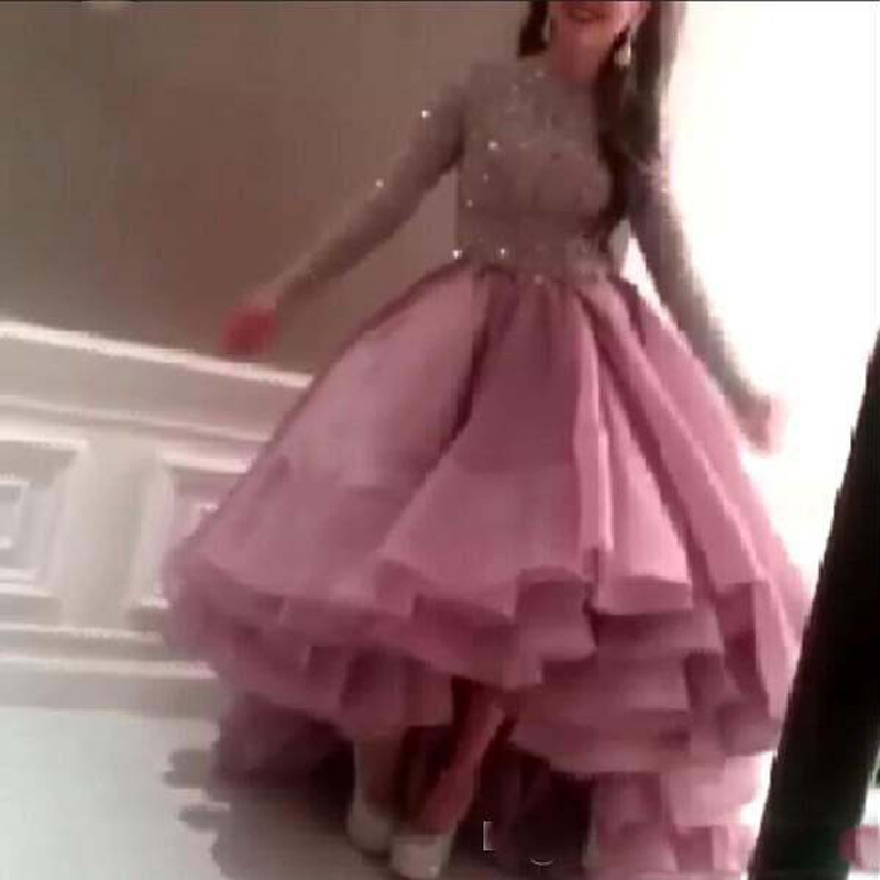 Evening Lace Sparking Beads/Sequins Long Sleeve Organza High Front Low Back Ruffle 2018 Prom Gown Mother Of The Bride Dresses