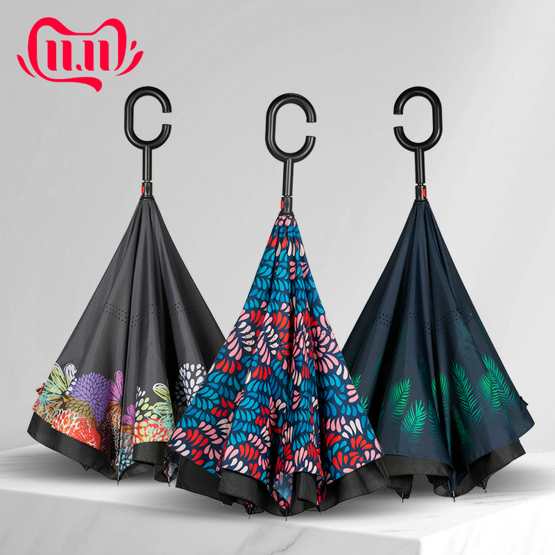 Reverse Umbrella For Double Layer Inverted Windproof Car Umbrellas Fashion Women UV Protection Rainproof Long-Handle Umbrellas
