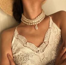 Punk Multi Layered Choker Necklace Collar for Women Statement Boho Handmade Imitation Pearl Pendant Necklace Jewelry black velvet ribbon pearl pendant layered design necklace