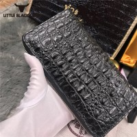 Genuine Crocodile Leather Women Purse High Quality Unisex Long Wallet Real Leather Clutch Purse Female Zipper Day Clutches Black