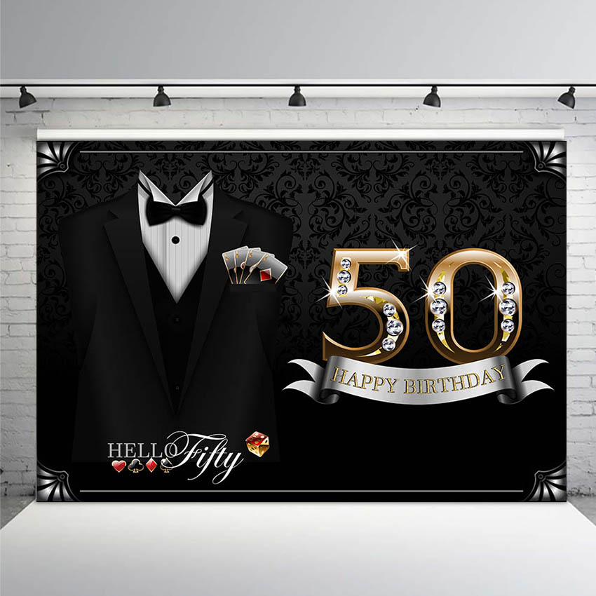 <font><b>Happy</b></font> <font><b>50th</b></font> <font><b>Birthday</b></font> <font><b>Backdrop</b></font> for Men Bow Tie Tuxedo Black Background for Photography Grandfather Father Gentleman Fifty Bday image