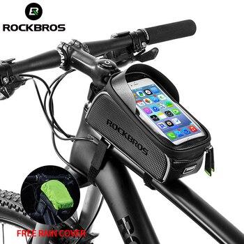 Rockbros saco de bicicleta tela sensível ao toque à prova dwaterproof água ciclismo topo tubo dianteiro quadro mtb road bike saco 6.0 caso do telefone acessórios da bicicleta 1