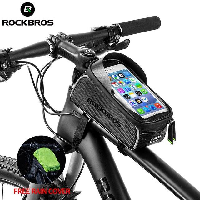 ROCKBROS Bicycle Bag Waterproof Touch Screen Cycling Bag Top Front Tube Frame MTB Road Bike Bag 6.0 Phone Case Bike Accessories 1