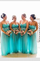 Turquoise Bridesmaid Dresses Chiffon Guest Gowns Sweetheat Neck Cystal Belt Long Party Dress vestido dama de honor