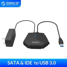 Adaptador de disco duro ORICO SATA a USB 3,0 2,5/3,5 pulgadas SATA y IDE adaptador de disco duro 5Gpbs de alta velocidad con adaptador de corriente de 12V