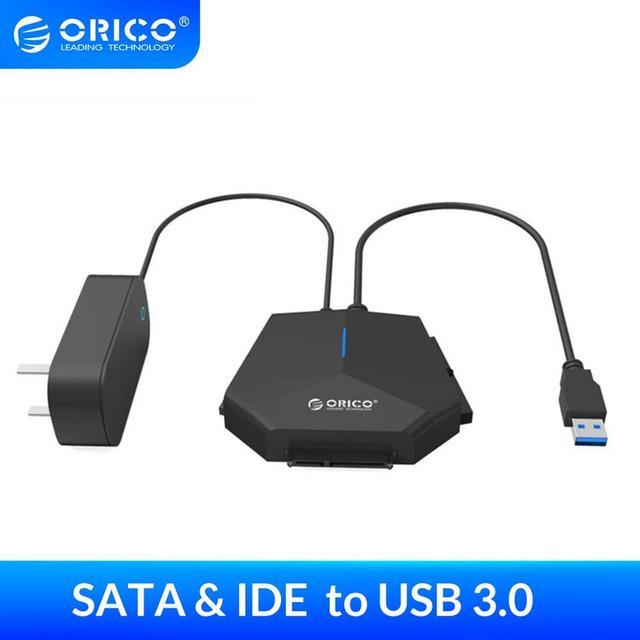 محول محرك الأقراص الصلبة من ORICO SATA إلى USB 3.0 مقاس 2.5/3.5 بوصة محول محرك الأقراص الصلبة SATA & IDE 5Gpbs عالي السرعة مع محول طاقة 12 فولت