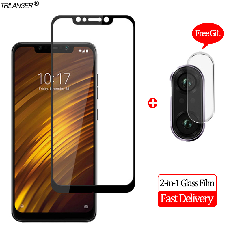 2-in-1 Camera Len Glass Film Xiaomi Pocophone F1 Screen Protector Protective Glass Xiaomi Pocophone F1 Tempered Glass Poco F1