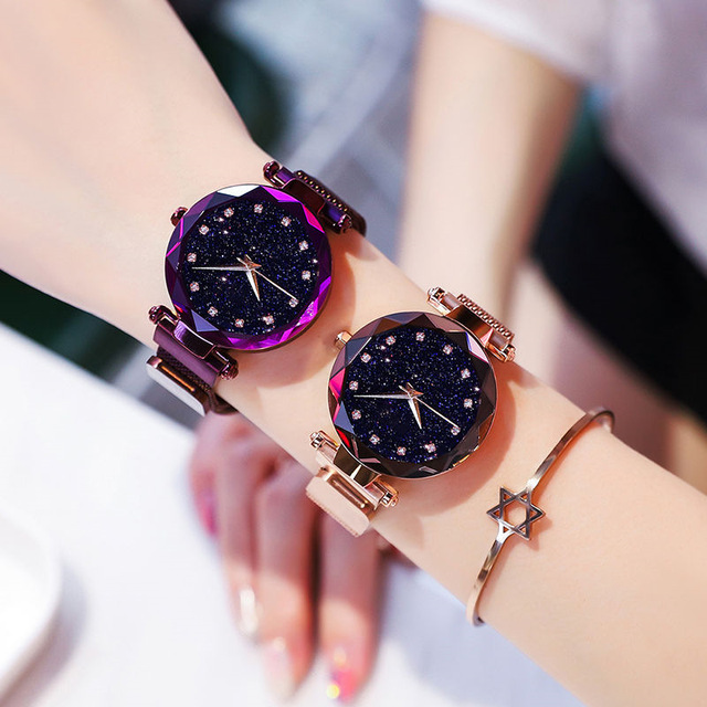 Luxury Women Watches Fashion Elegant Magnet Buckle Vibrato Purple Gold Ladies Wristwatch 2019 New Starry Sky  Relogio Feminino 2