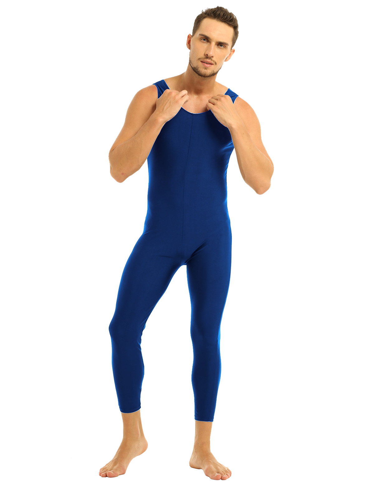 Men Sleeveless Leotard Bodysuit Lycra Tights Leggings for Ballet Dance Vest Teddy Sports Unitard Catsuit Male Dancewear Jumpsuit 24