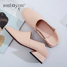 ROBESPIERE Women Pumps Fashion Low Heel Square Toe Boat Shoes Quality Genuine Leather Shoes 2019 New Casual Ladies Shoes A115 цена в Москве и Питере