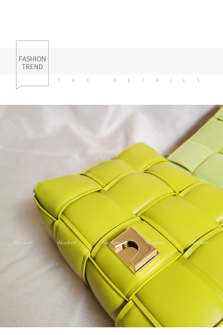 Metal Chain Avocado Green Shoulder Bag Women 2020 New Designer Woven Small Square Crossbody Bag Female Fashion Purse Top Quality